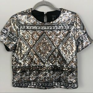 FOREVER 21   Sequin Cropped Top Short Sleeve Small